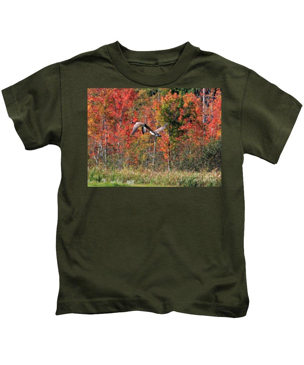Autumn Kids T-Shirt featuring the photograph Autumn Vermont Geese And Color by Deborah Benoit