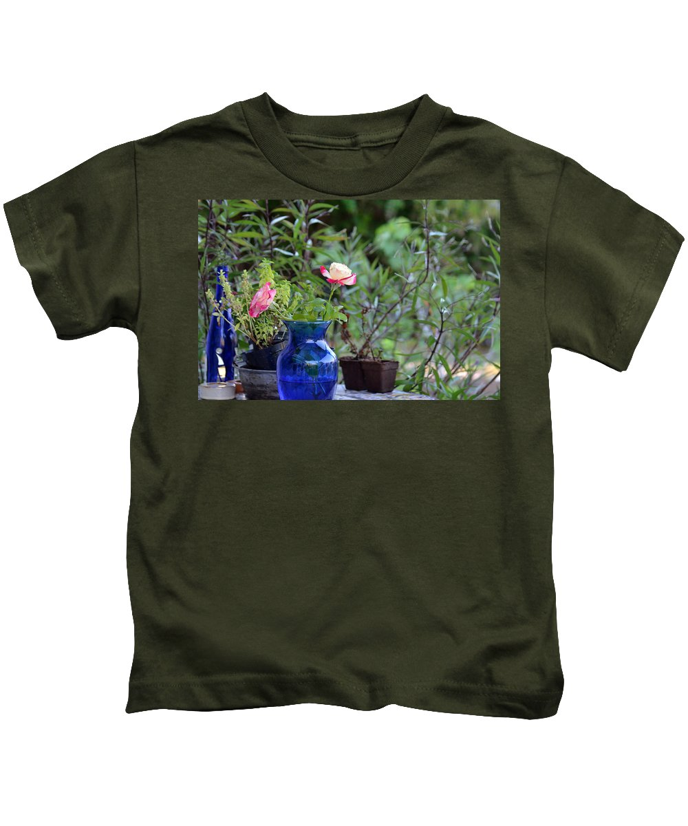 Garden Kids T-Shirt featuring the photograph Back Yard Roses by Charles Bacon Jr