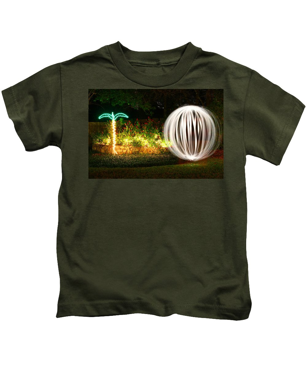 Light Painting Kids T-Shirt featuring the photograph Backyard Ball Of Light by Rich Franco
