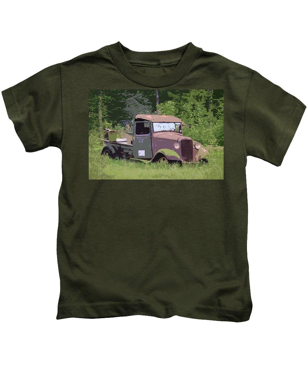 Chevy Truck Kids T-Shirt featuring the photograph Barn Fresh Pickup by Steve McKinzie