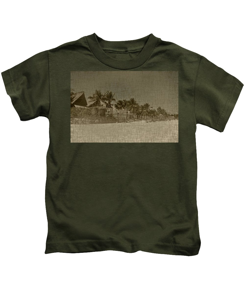 Beach Kids T-Shirt featuring the photograph Beach Huts In A Tropical Paradise by Brandon Bourdages