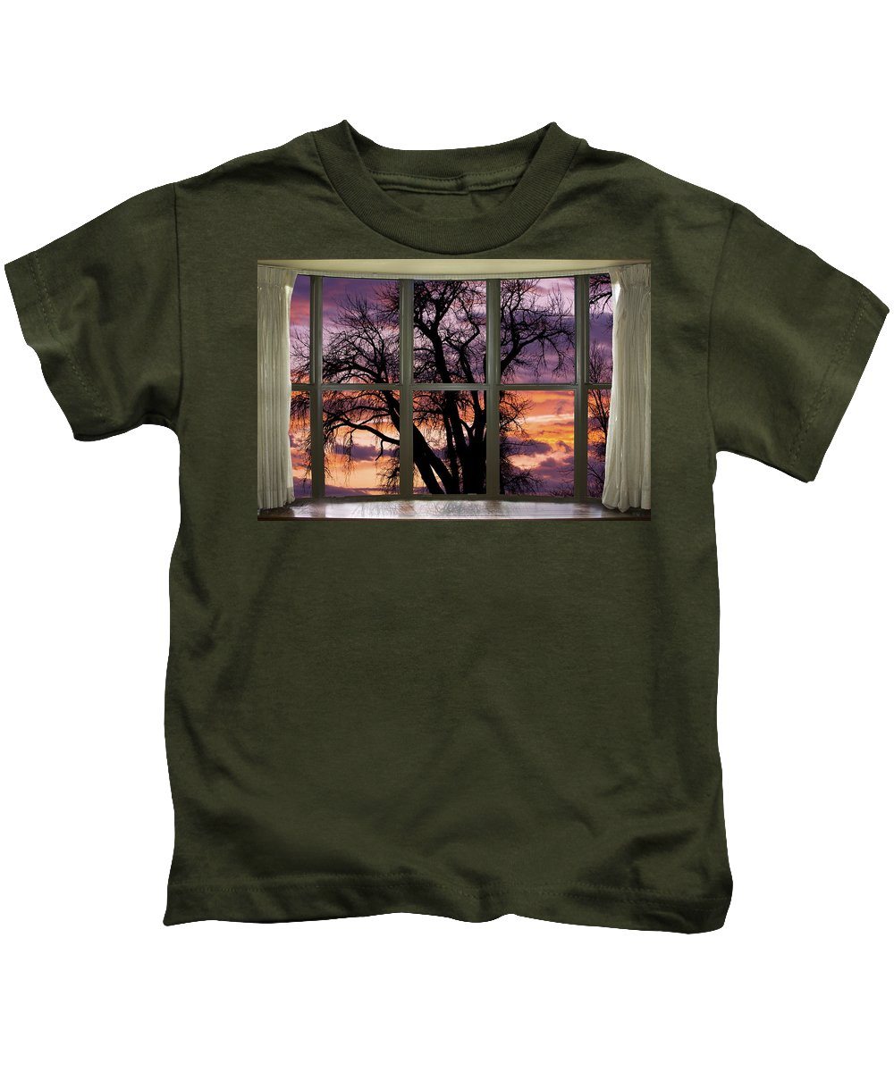 Window Kids T-Shirt featuring the photograph Beautiful Sunset Bay Window View by James BO Insogna
