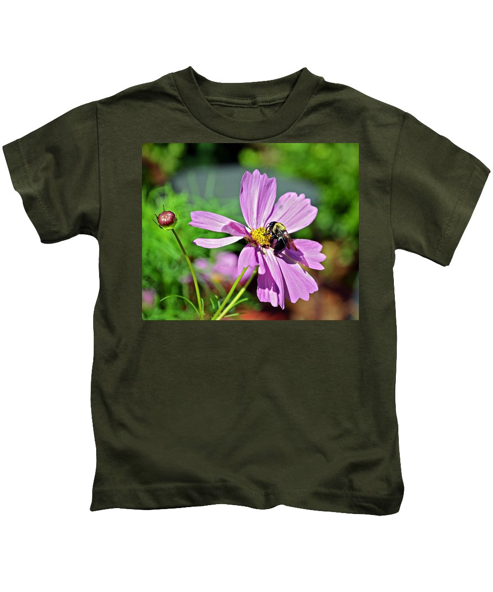 Insect Kids T-Shirt featuring the photograph Bee On Flower by Susan Leggett