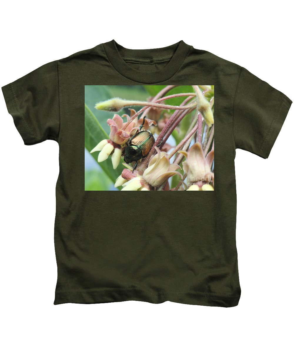 Holmesbrook Photographs Kids T-Shirt featuring the photograph Beetle Juice by Trish Hale
