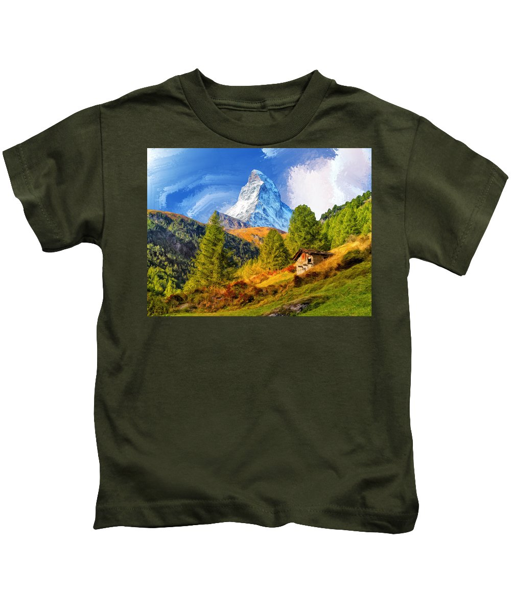 Matterhorn Kids T-Shirt featuring the painting Below The Matterhorn by Dominic Piperata
