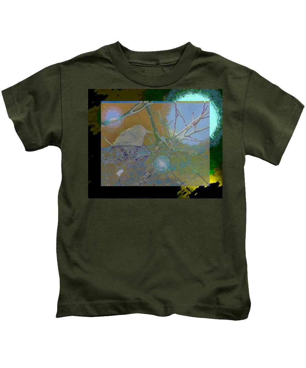 Abstract Kids T-Shirt featuring the photograph Bird Floating In Moonlight by Lenore Senior