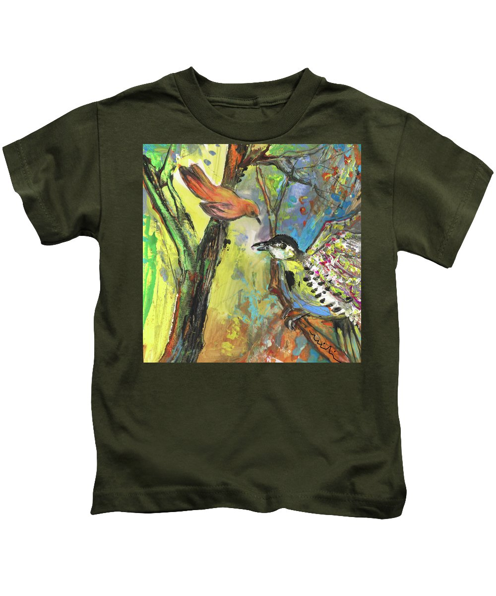 Animals Kids T-Shirt featuring the painting Birds 03 by Miki De Goodaboom