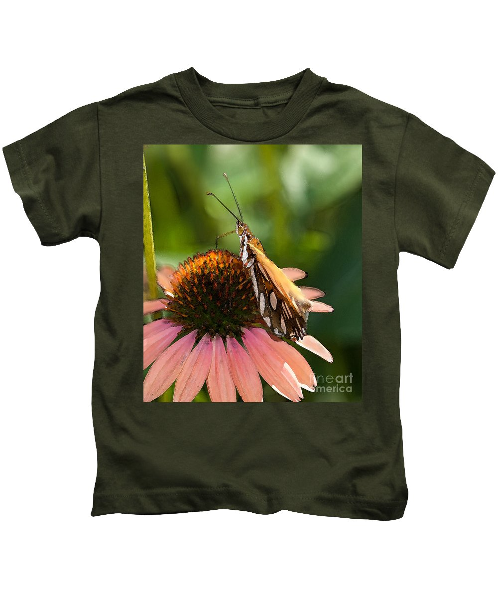 Gulf Fritillary Kids T-Shirt featuring the photograph Bliss by Betty LaRue