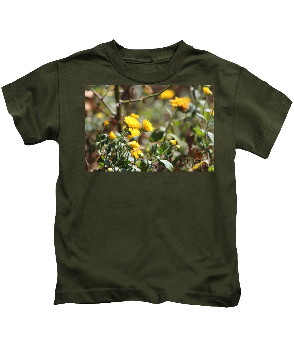 Merigolds Kids T-Shirt featuring the photograph Blomming Merigolds by Michelle Powell
