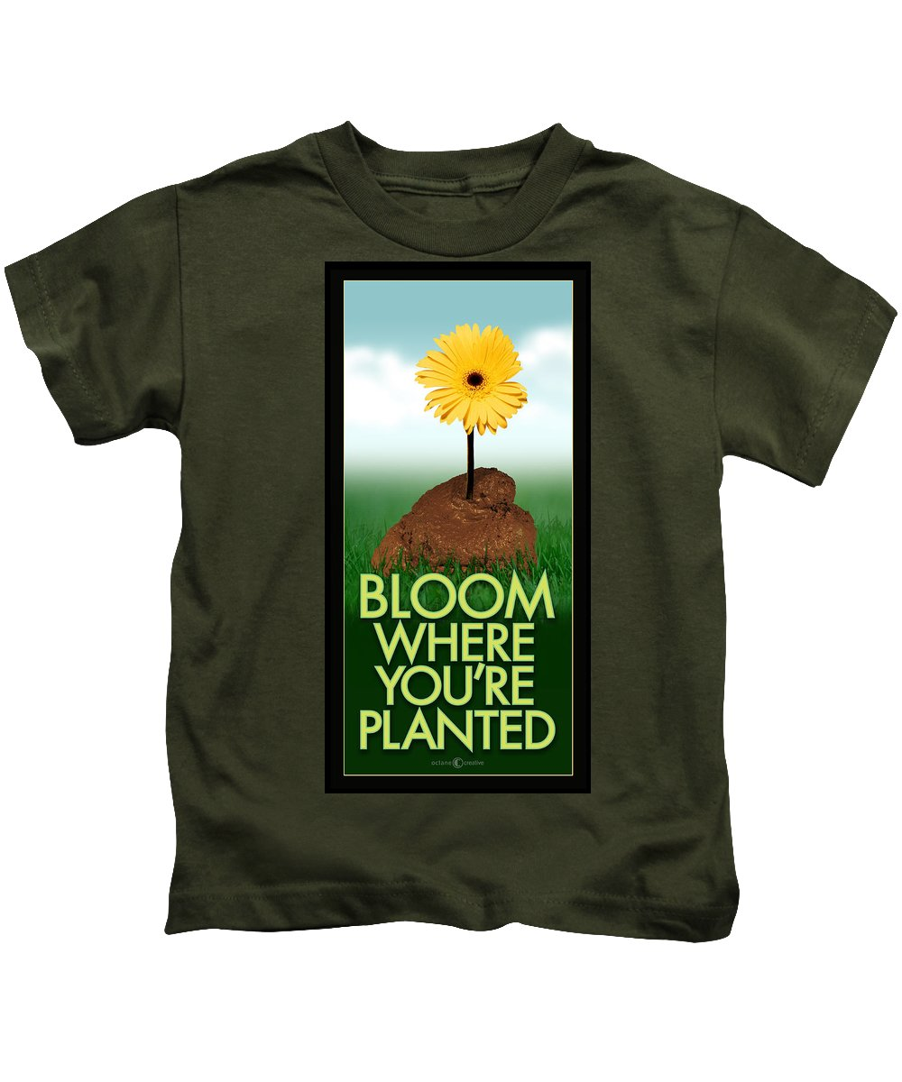 Flower Kids T-Shirt featuring the photograph Bloom Where You Are Planted Poster by Tim Nyberg