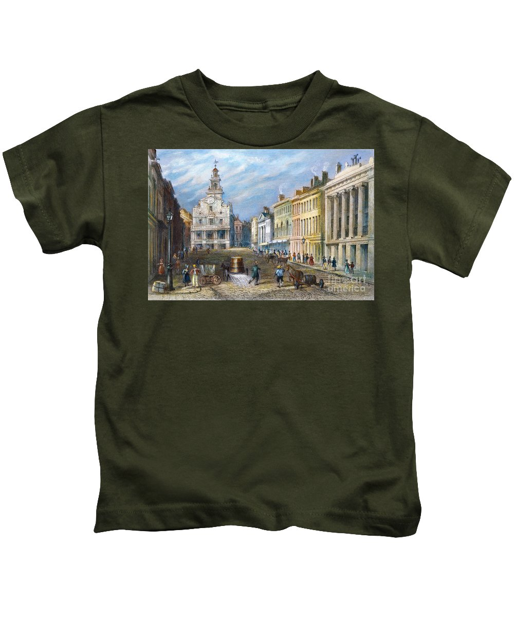 1837 Kids T-Shirt featuring the photograph Boston: State Street by Granger