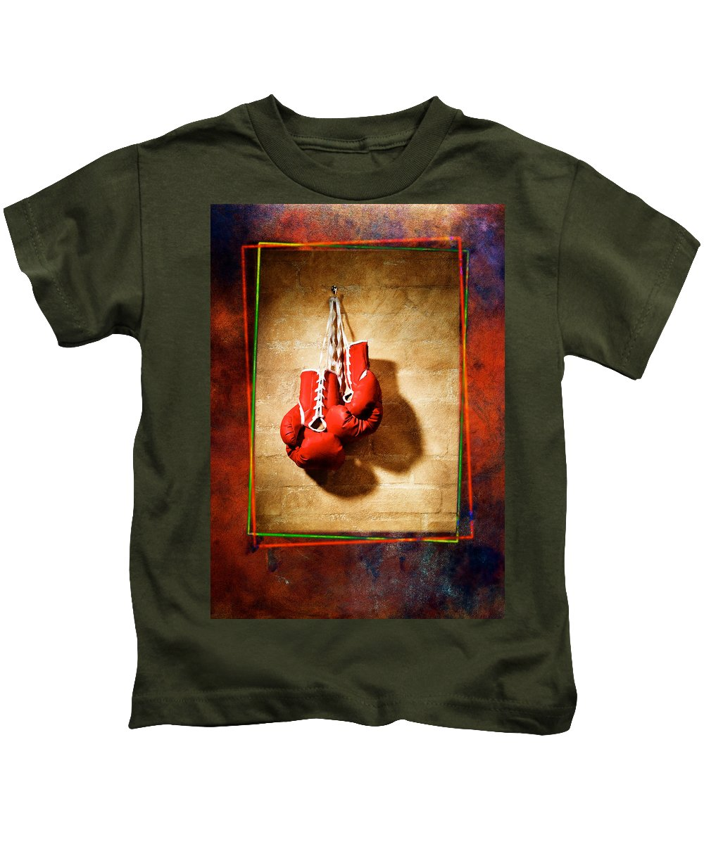 Gloves Kids T-Shirt featuring the pyrography Boxing by Mauro Celotti