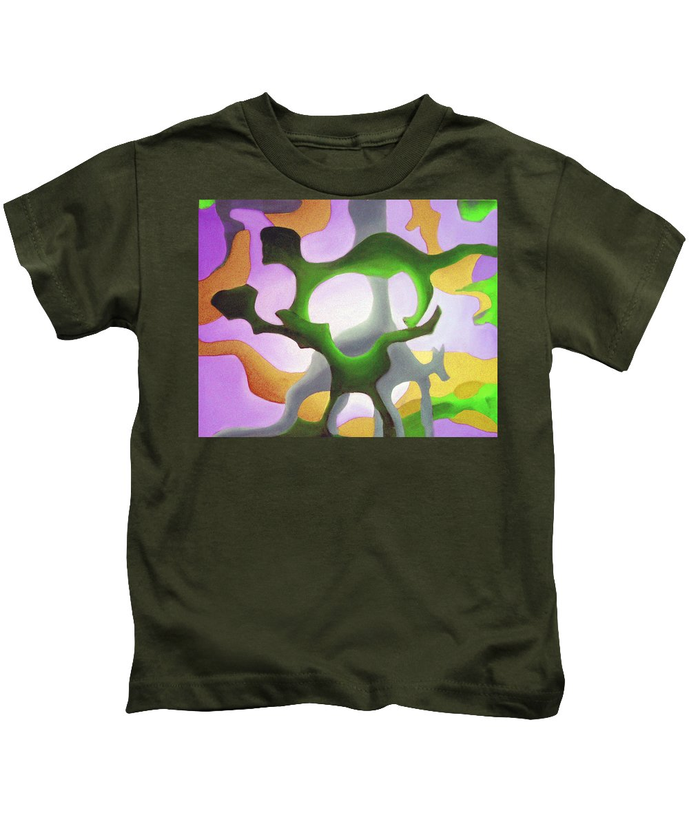 Australian Art Kids T-Shirt featuring the painting Bush Tango 4 by Giro Tavitian