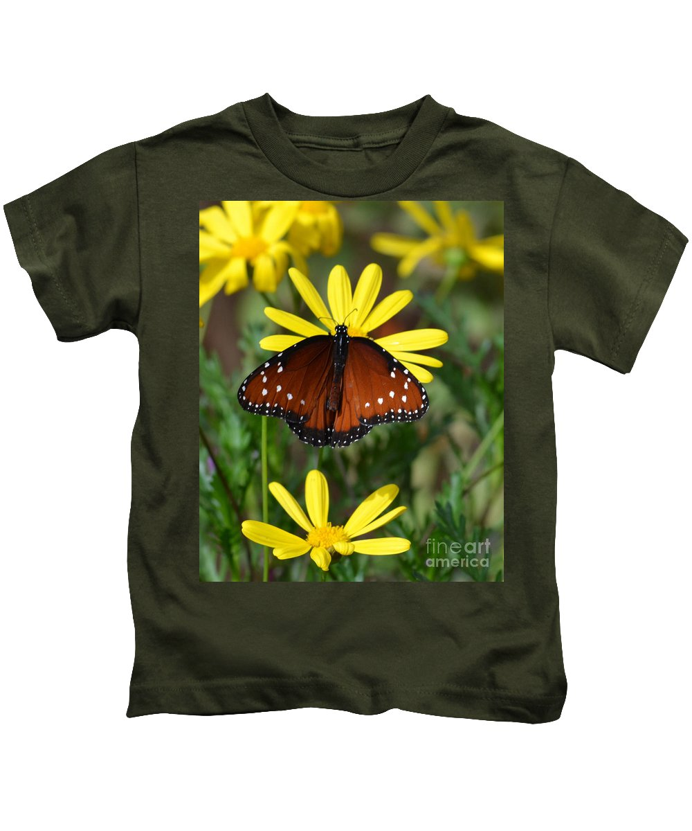 Butterfly Kids T-Shirt featuring the photograph Butterfly And Yellow Flowers by Rebecca Margraf