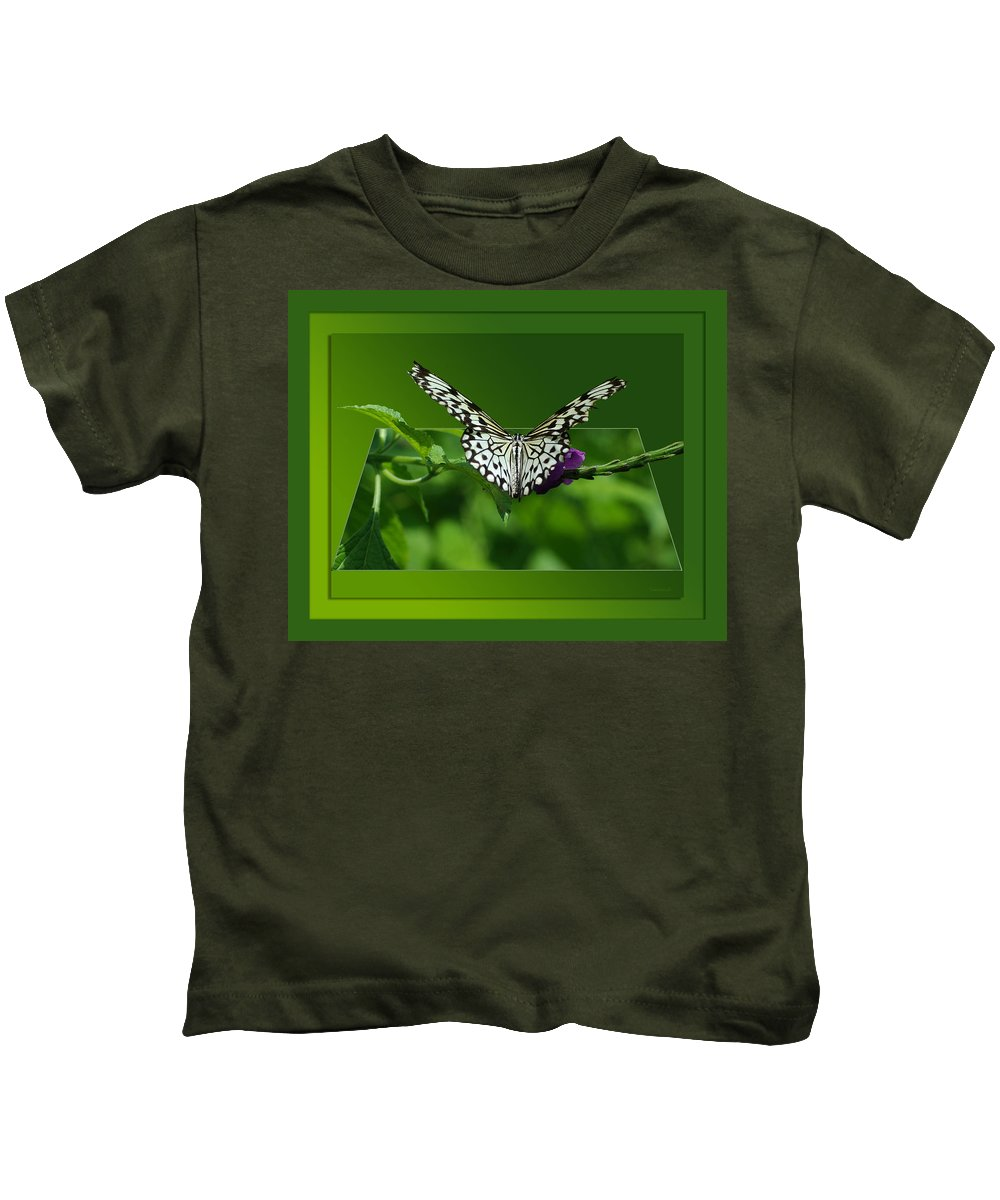Test Kids T-Shirt featuring the photograph Butterfly White 16 By 20 by Thomas Woolworth