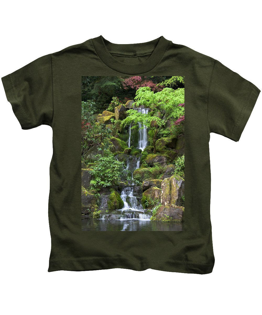 Green Kids T-Shirt featuring the photograph Cascading Waters by Jean Hildebrant