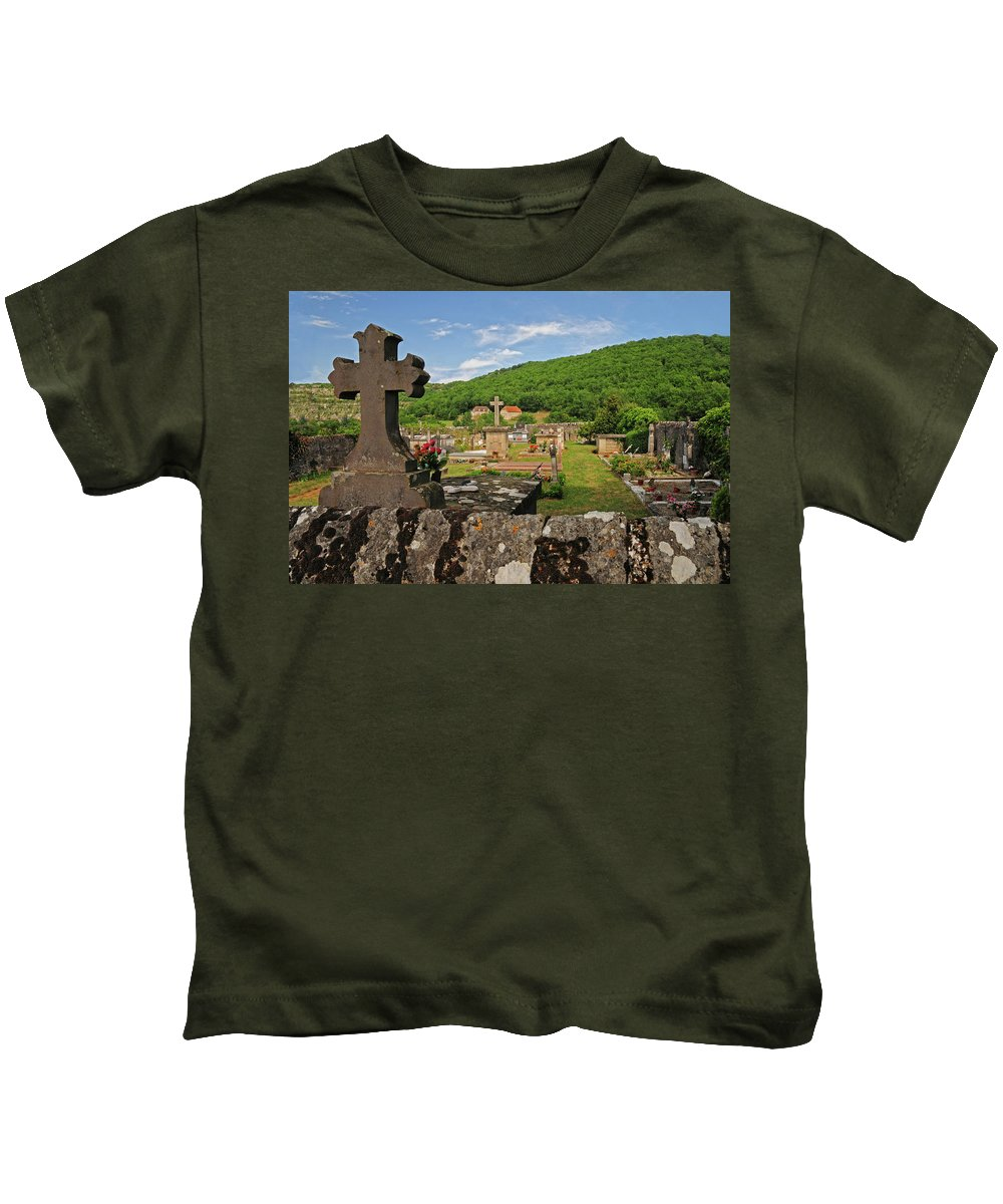 Cemetery Kids T-Shirt featuring the photograph Cemetery In France by Dave Mills