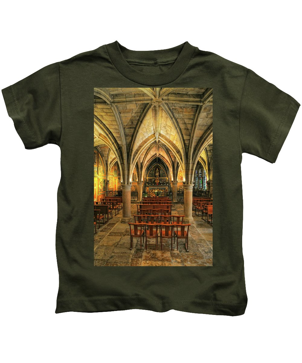 Chapel Kids T-Shirt featuring the photograph Chapel In Dordogne France by Dave Mills