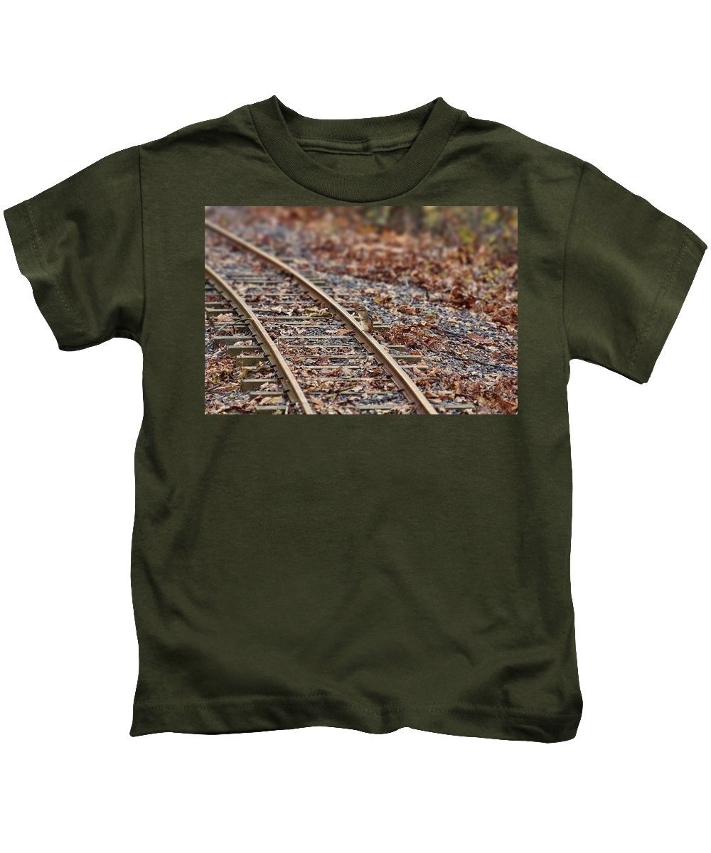 Chipmunk Kids T-Shirt featuring the photograph Chipmunk On The Railroad Track by Douglas Barnard