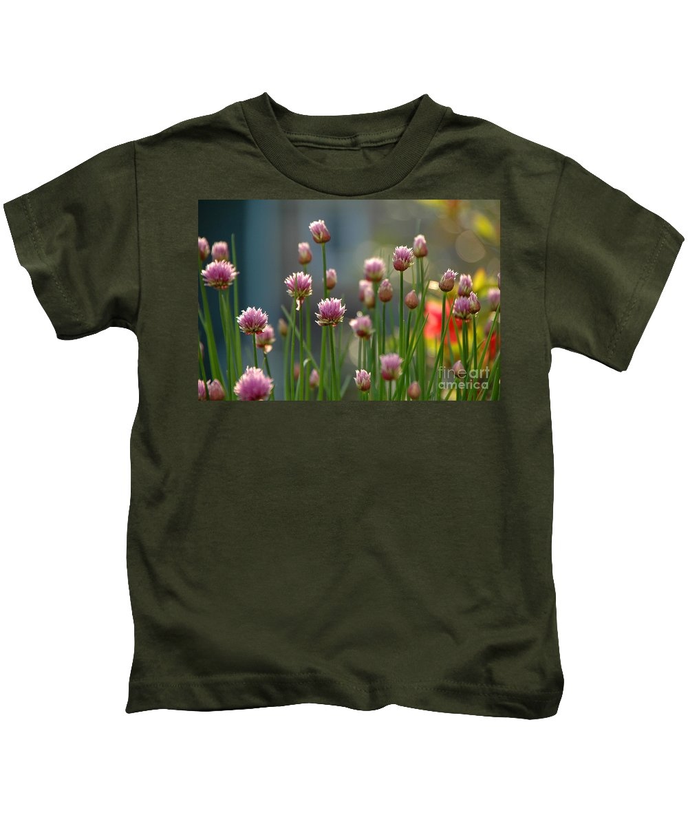Chives Kids T-Shirt featuring the photograph Chives by Mike Nellums