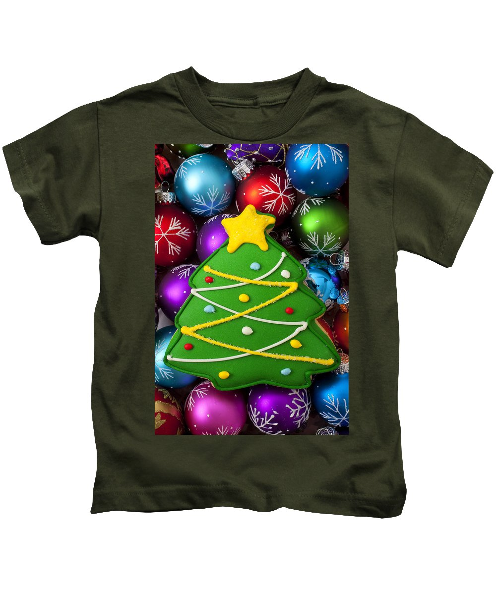 Colorful Ornaments Kids T-Shirt featuring the photograph Christmas Tree Cookie With Ornaments by Garry Gay