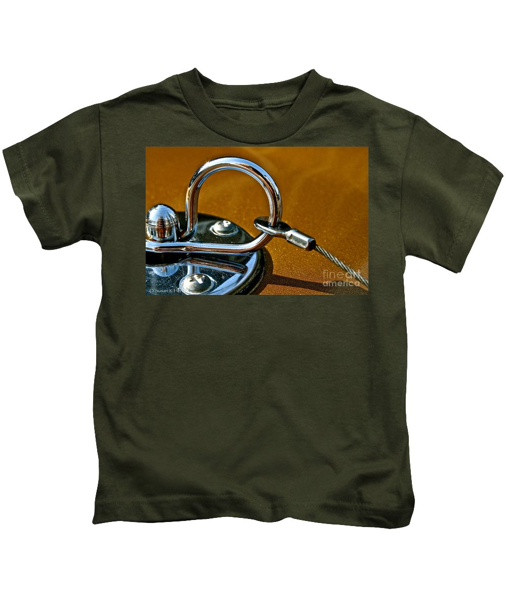 Auto Kids T-Shirt featuring the photograph Chrome Lock by Susan Herber