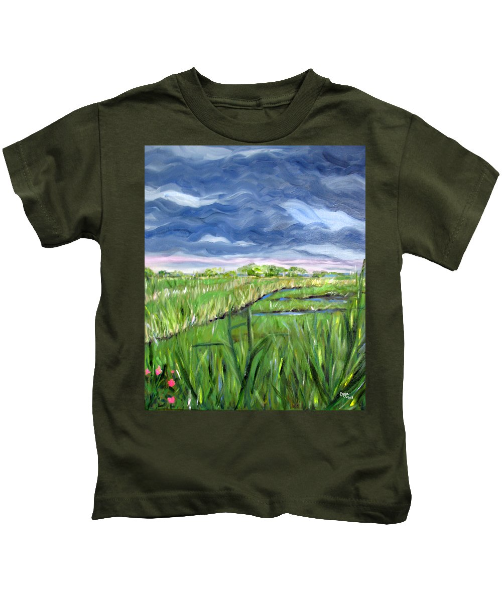 Bayville Kids T-Shirt featuring the painting Cloudy Marsh by Clara Sue Beym