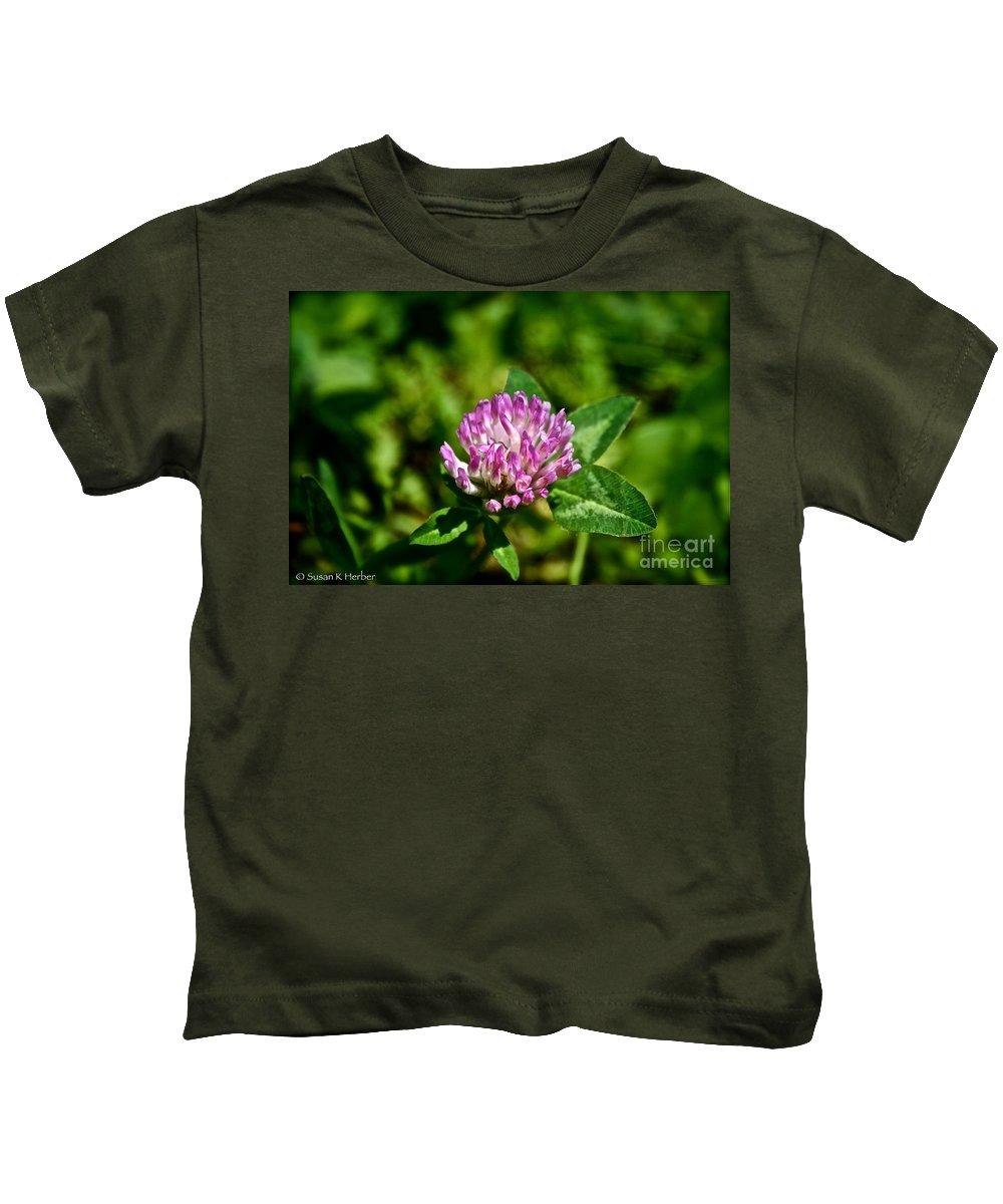 Outdoors Kids T-Shirt featuring the photograph Clover Craze by Susan Herber