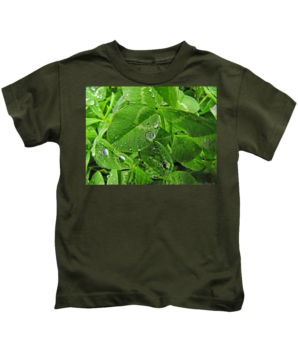 Nature Kids T-Shirt featuring the photograph Clover Jewels by Debbie Portwood