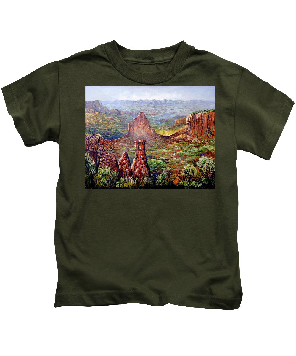 Colorado Kids T-Shirt featuring the painting Colorado National Monument by Lou Ann Bagnall