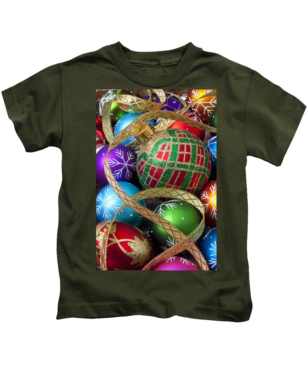 Colorful Ornaments Kids T-Shirt featuring the photograph Colorful Ornaments With Ribbon by Garry Gay
