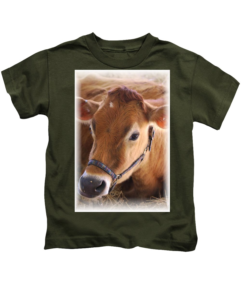 Cow Kids T-Shirt featuring the photograph Contentment by Judy Hall-Folde