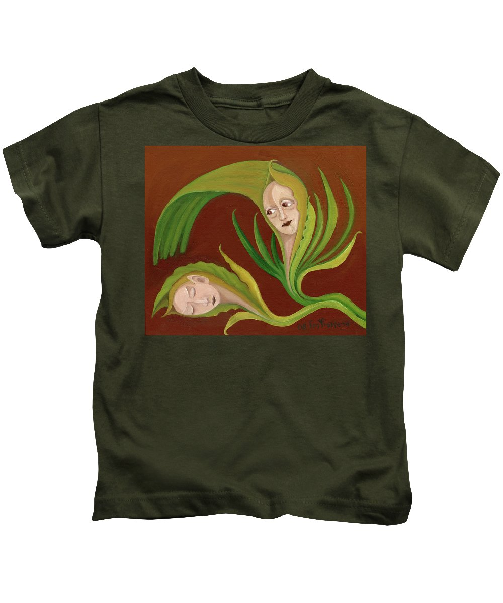 Corn Kids T-Shirt featuring the painting Corn Love Fantastic Realism Faces In Green Corn Leaves Sleeping Or Dead Loving Or Mourning Gree by Rachel Hershkovitz