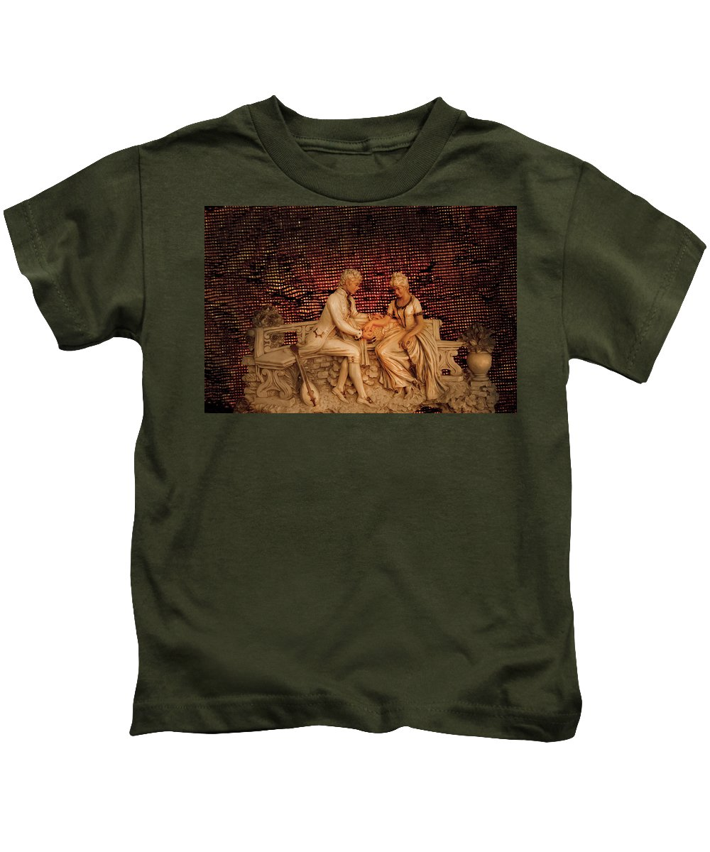 Bench Courting Kids T-Shirt featuring the photograph Courting by Randall Branham