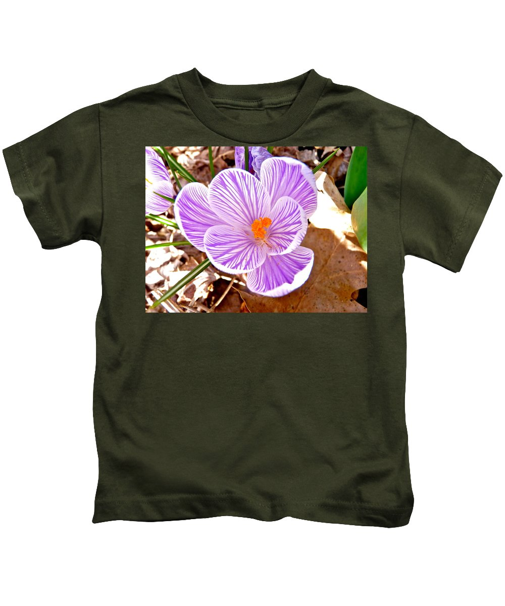 Crocus Kids T-Shirt featuring the photograph Crocus by Catherine Conroy