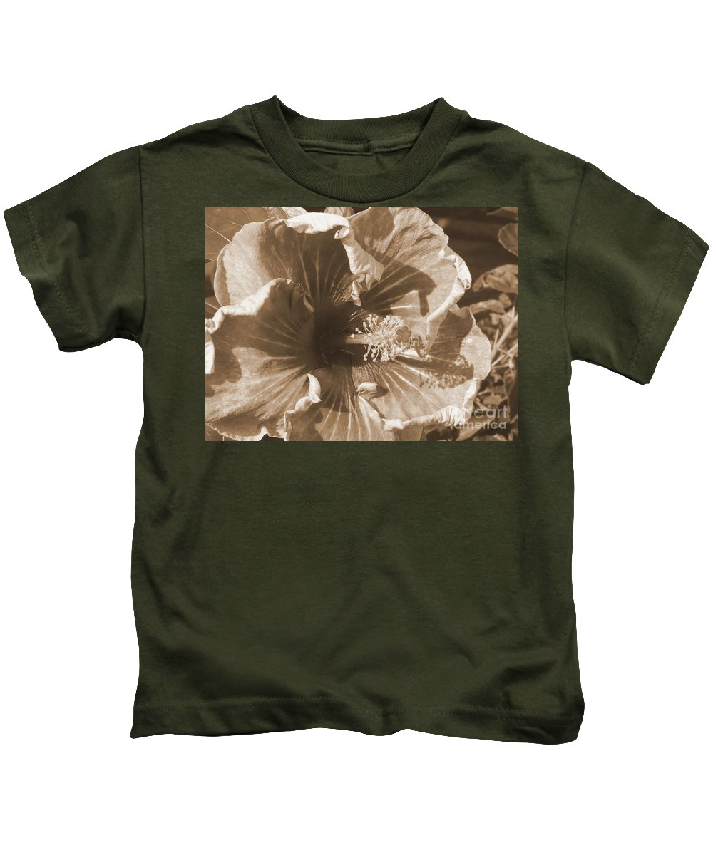 Flowers Kids T-Shirt featuring the photograph Curly Hibiscus In Sepia by Mary Deal