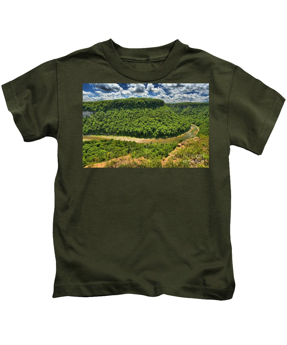 Letchworth State Park Kids T-Shirt featuring the photograph Curve In The Canyon by Adam Jewell