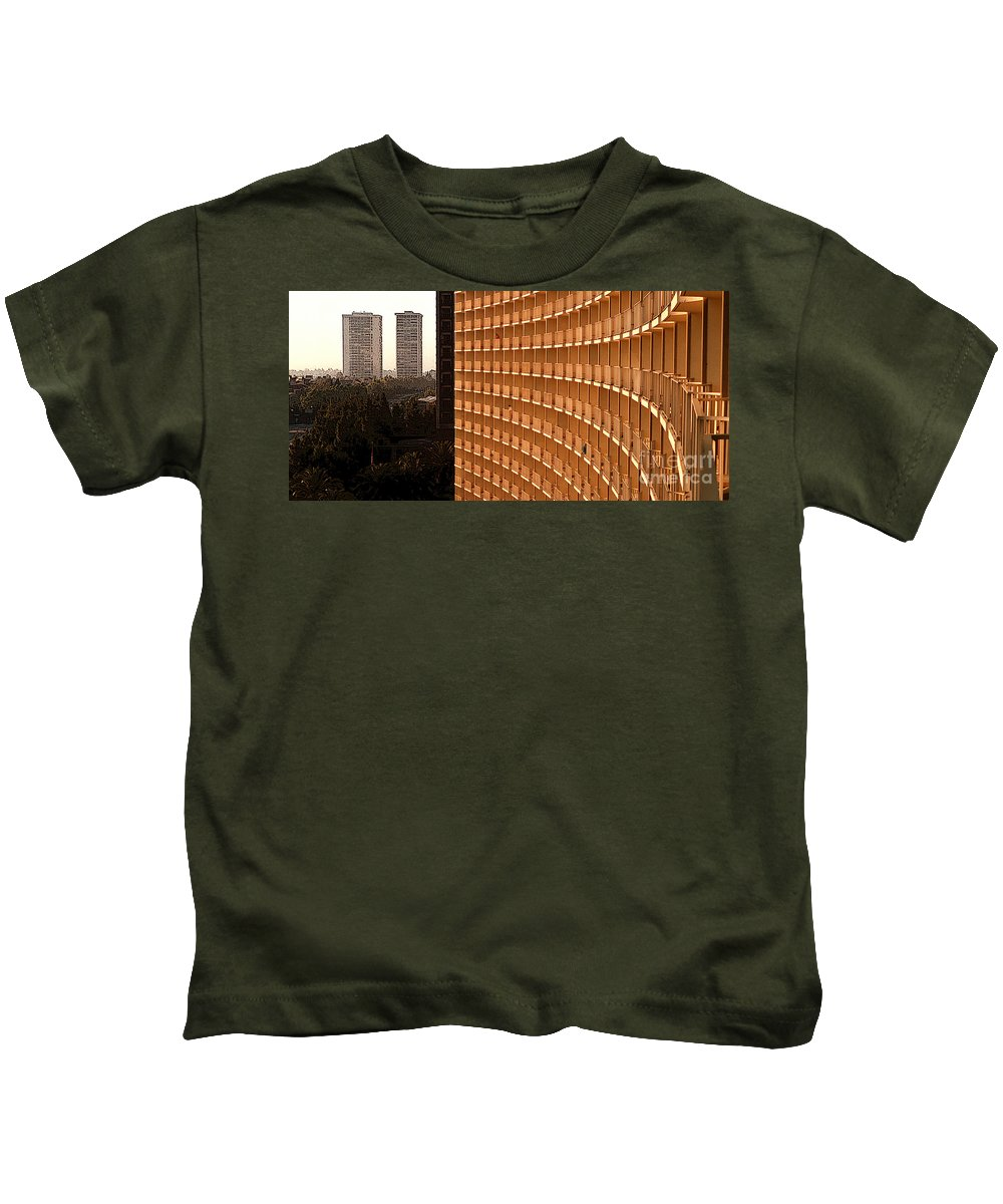 Balconies Kids T-Shirt featuring the mixed media Curved Balconies by Mike Nellums