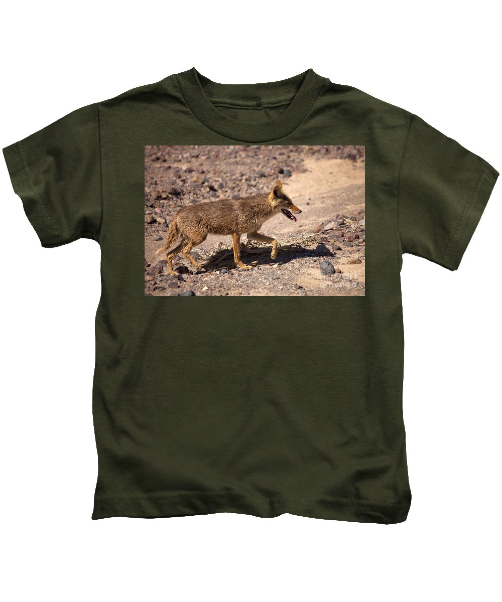 Coyote Kids T-Shirt featuring the photograph Death Valley Coyote by Mike Dawson