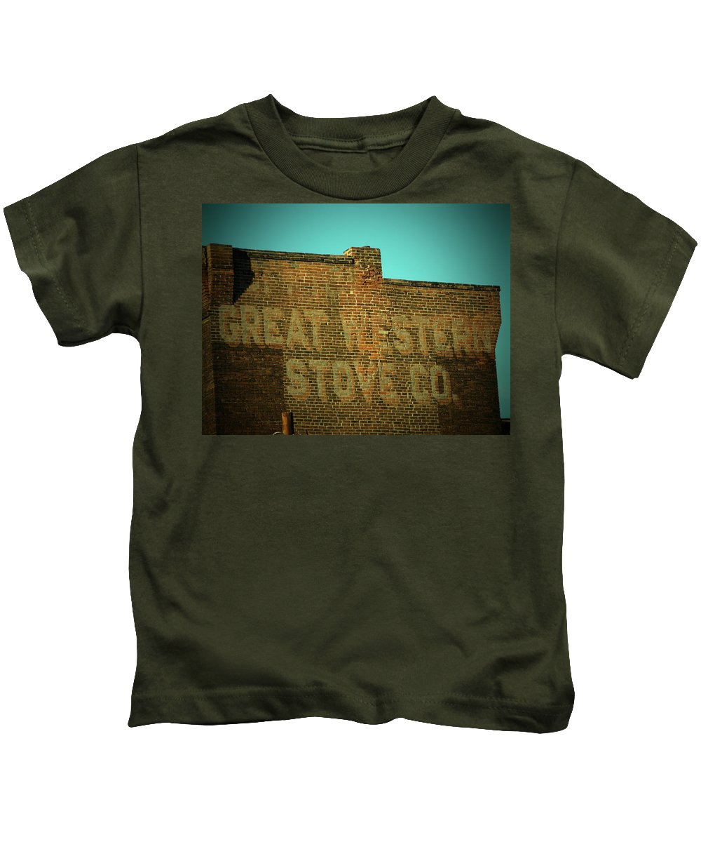 Great Western Kids T-Shirt featuring the photograph Defunct by Chris Berry