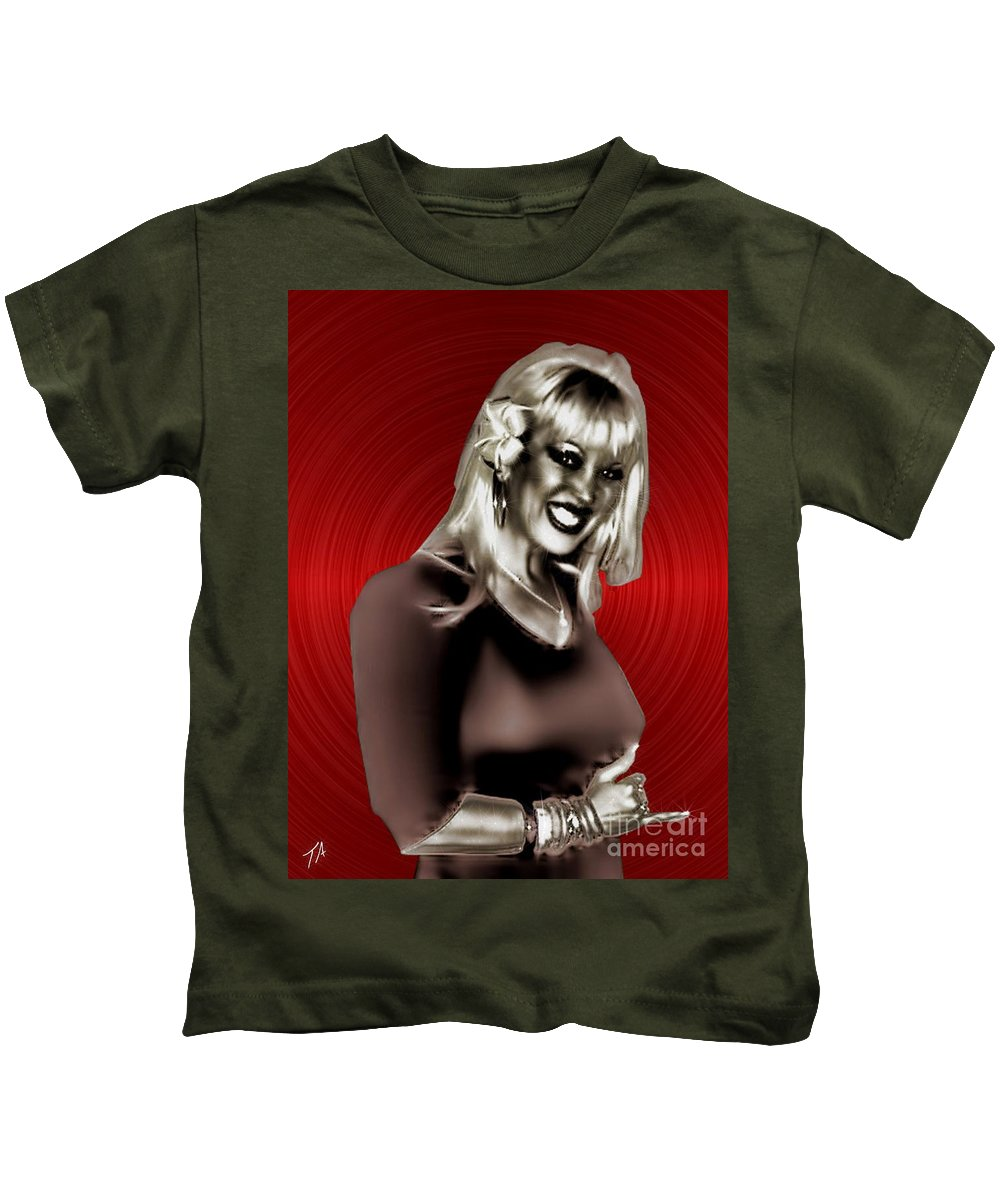 Goddess Kids T-Shirt featuring the digital art Diamond Girl by Tommy Anderson