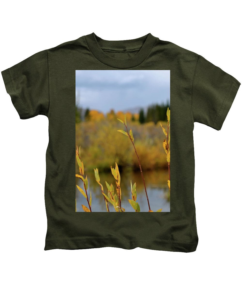 Autumn Kids T-Shirt featuring the photograph By The River by Beverley Harper Tinsley