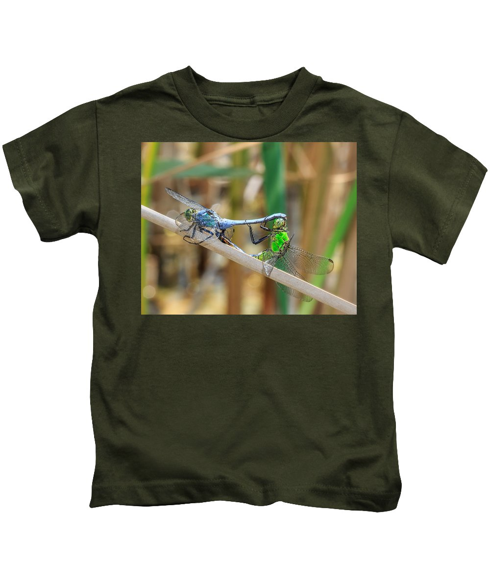 Dragonfly Kids T-Shirt featuring the photograph Dragonfly Love by Everet Regal