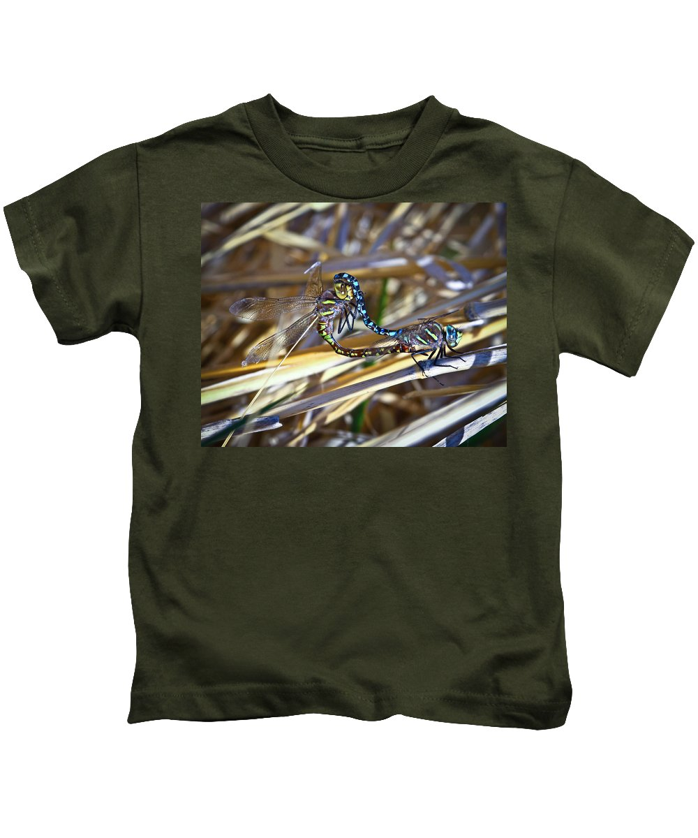 Dragonfly Kids T-Shirt featuring the photograph Dragonfly Love by Steve McKinzie