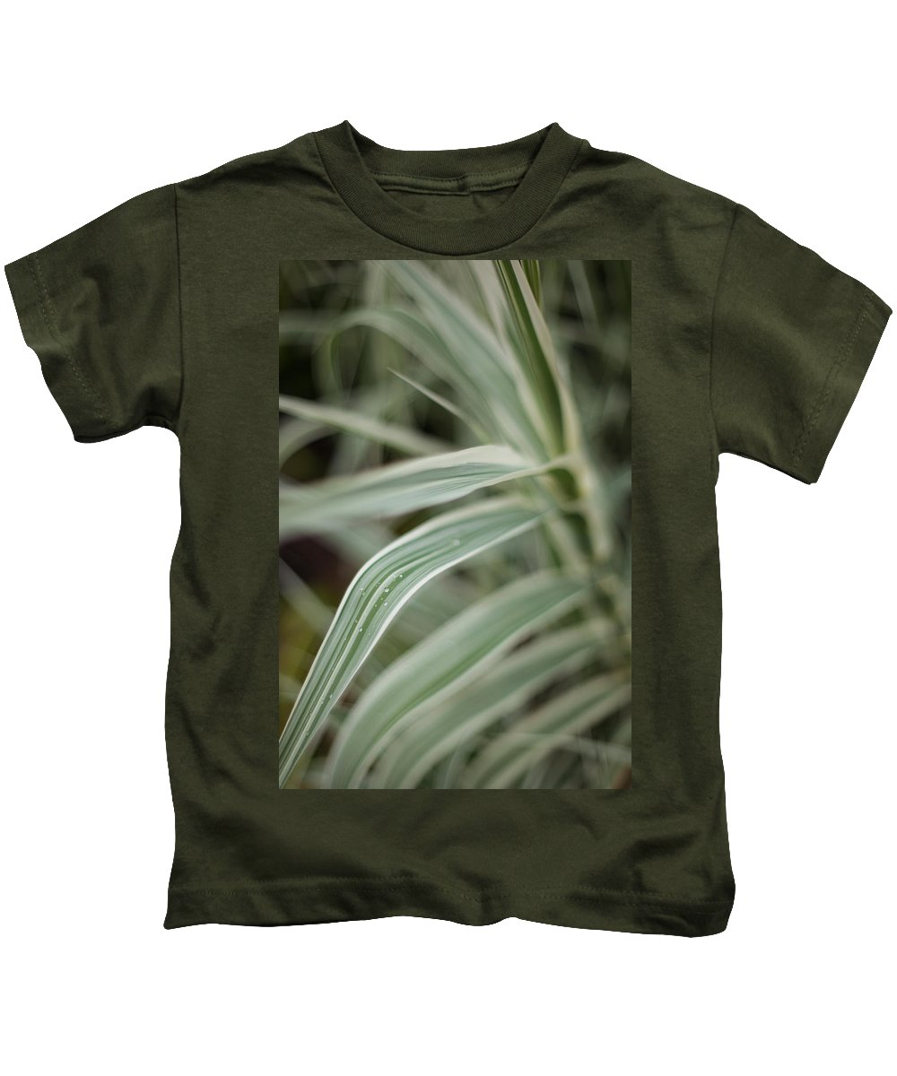 Grass Kids T-Shirt featuring the photograph Drops Of Grass Symmetry by Mike Reid