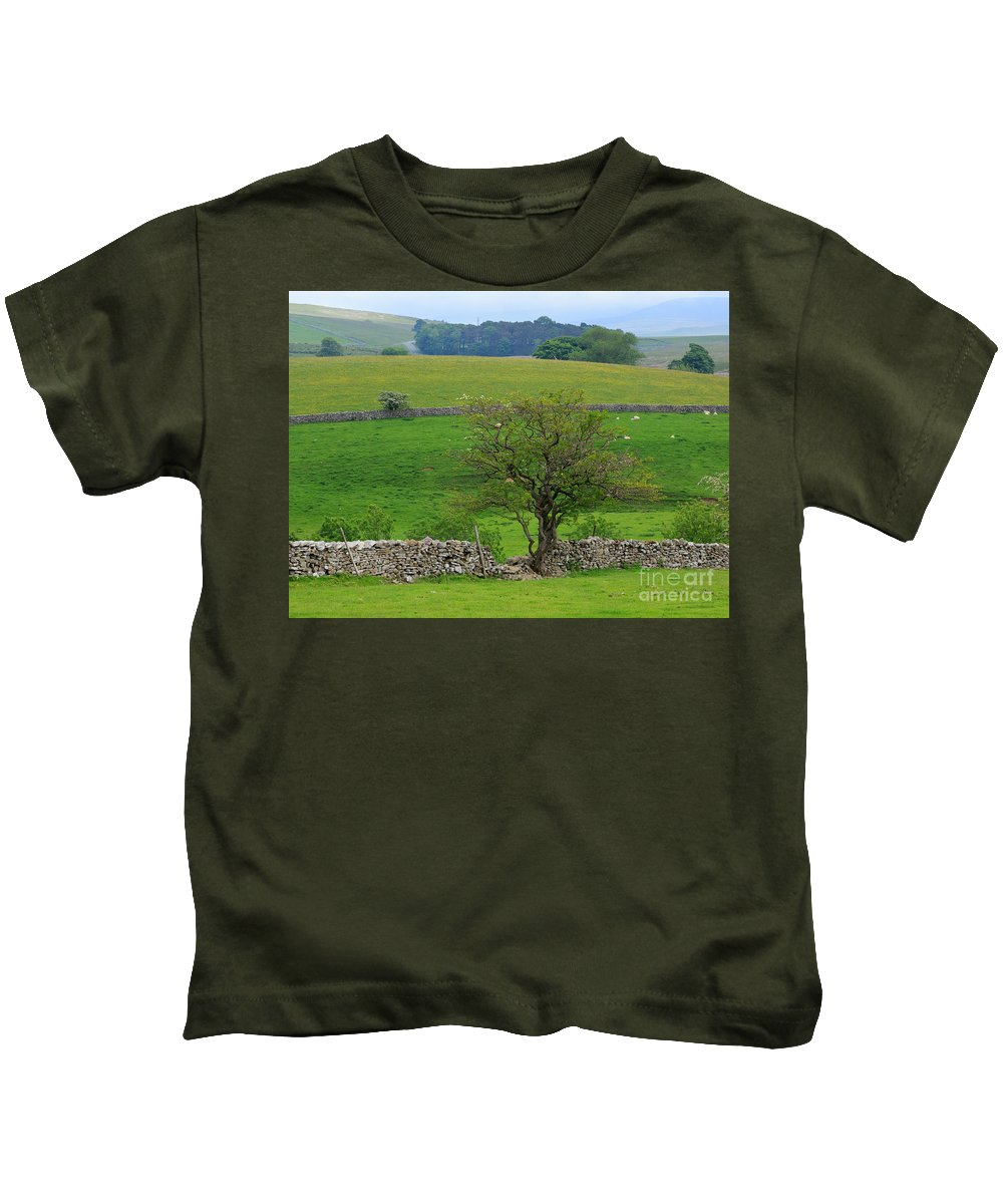 Tree Kids T-Shirt featuring the photograph Dry Stone Wall And Twisted Tree by Louise Heusinkveld