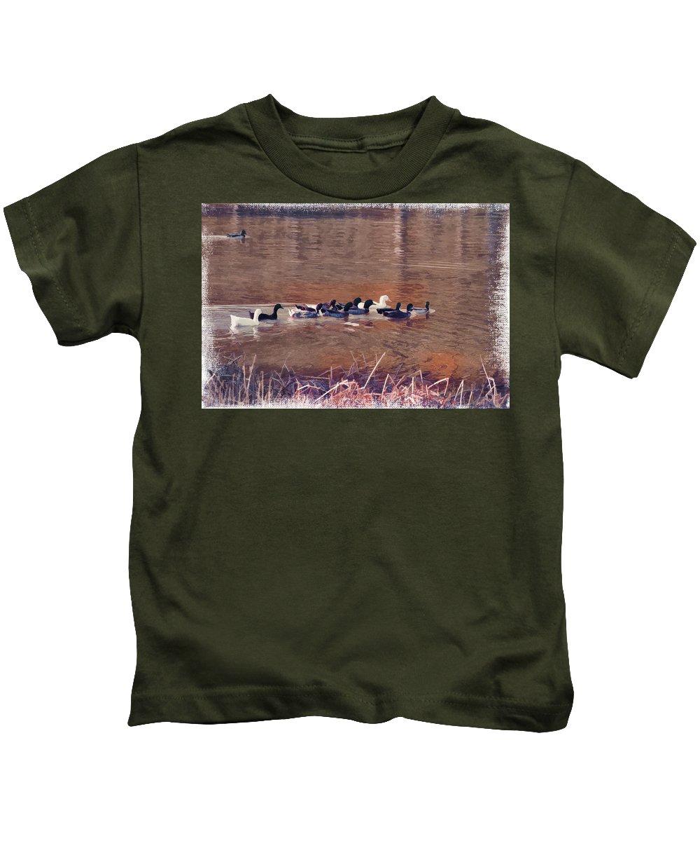 Ducks On Canvas Kids T-Shirt featuring the photograph Ducks On Canvas by Douglas Barnard