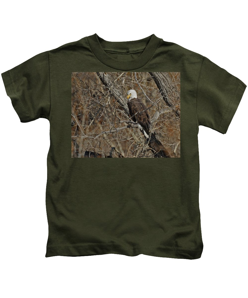 Animal Kids T-Shirt featuring the photograph Eagle In Tree 3 by Ernie Echols