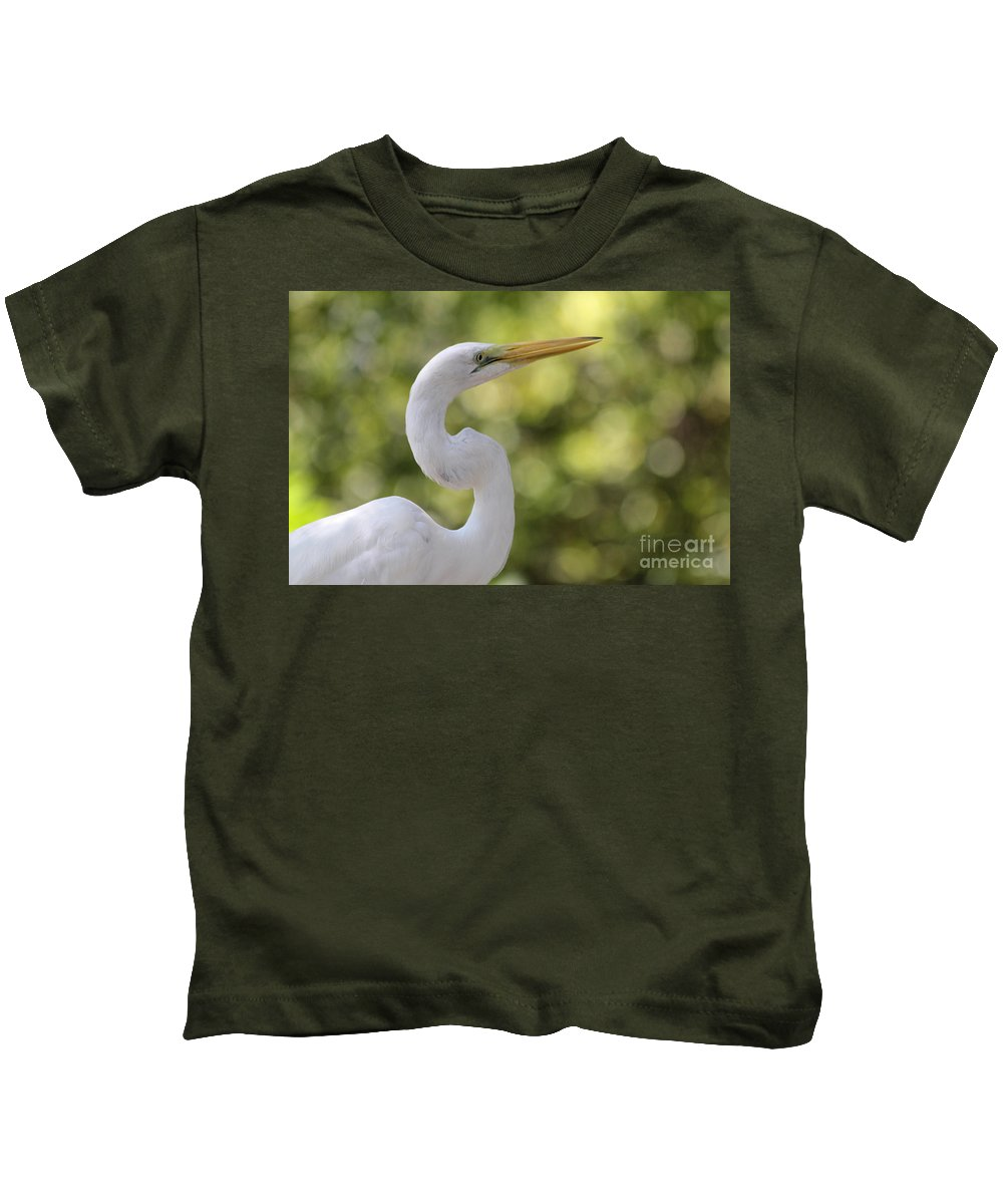 White Kids T-Shirt featuring the photograph Egret Alphabet by Alycia Christine