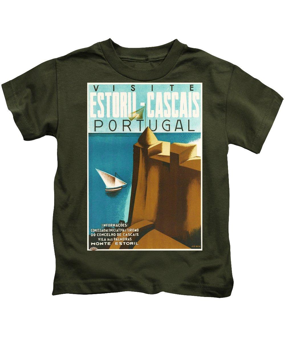 Estoril Cassais Kids T-Shirt featuring the digital art Estoril Cassais by Georgia Fowler